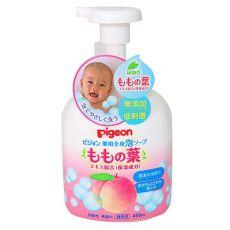 日本土Pigeon/贝亲桃子水泡沫洗发沐浴露450ml含桃叶儿童二合一