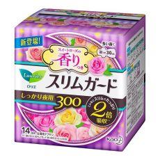 花王乐而雅Laurier零触感量多夜用卫生巾2倍吸收30cm14片玫瑰香